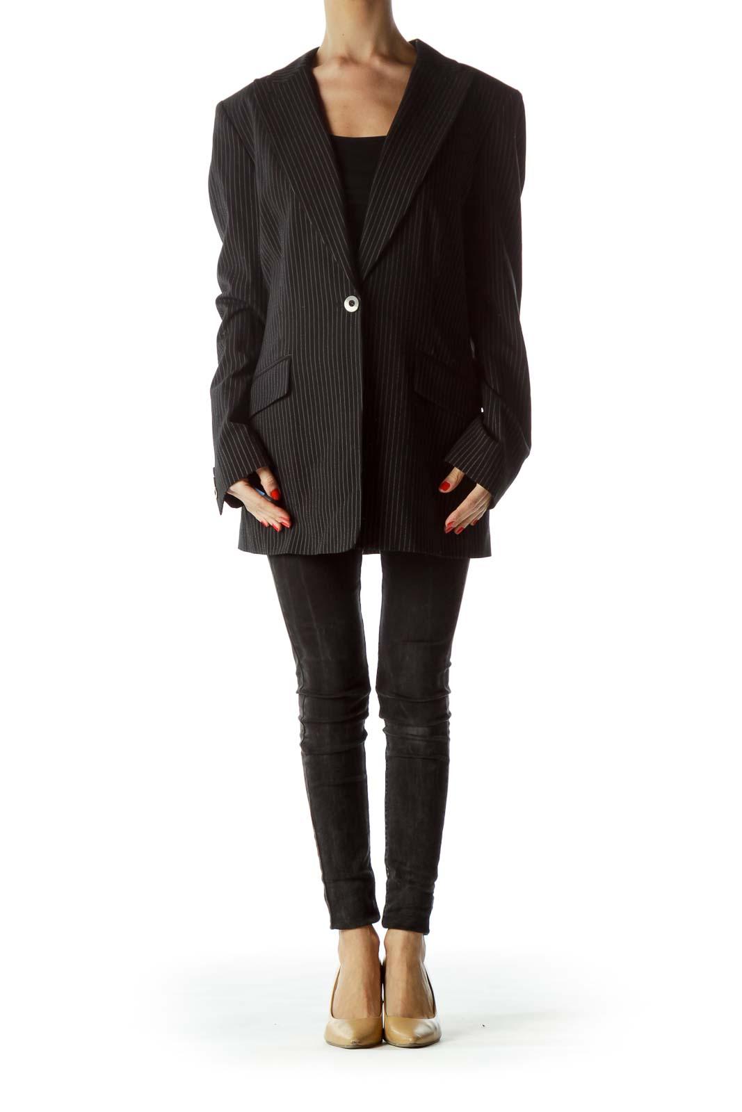 Black Beige Pinstripe Blazer