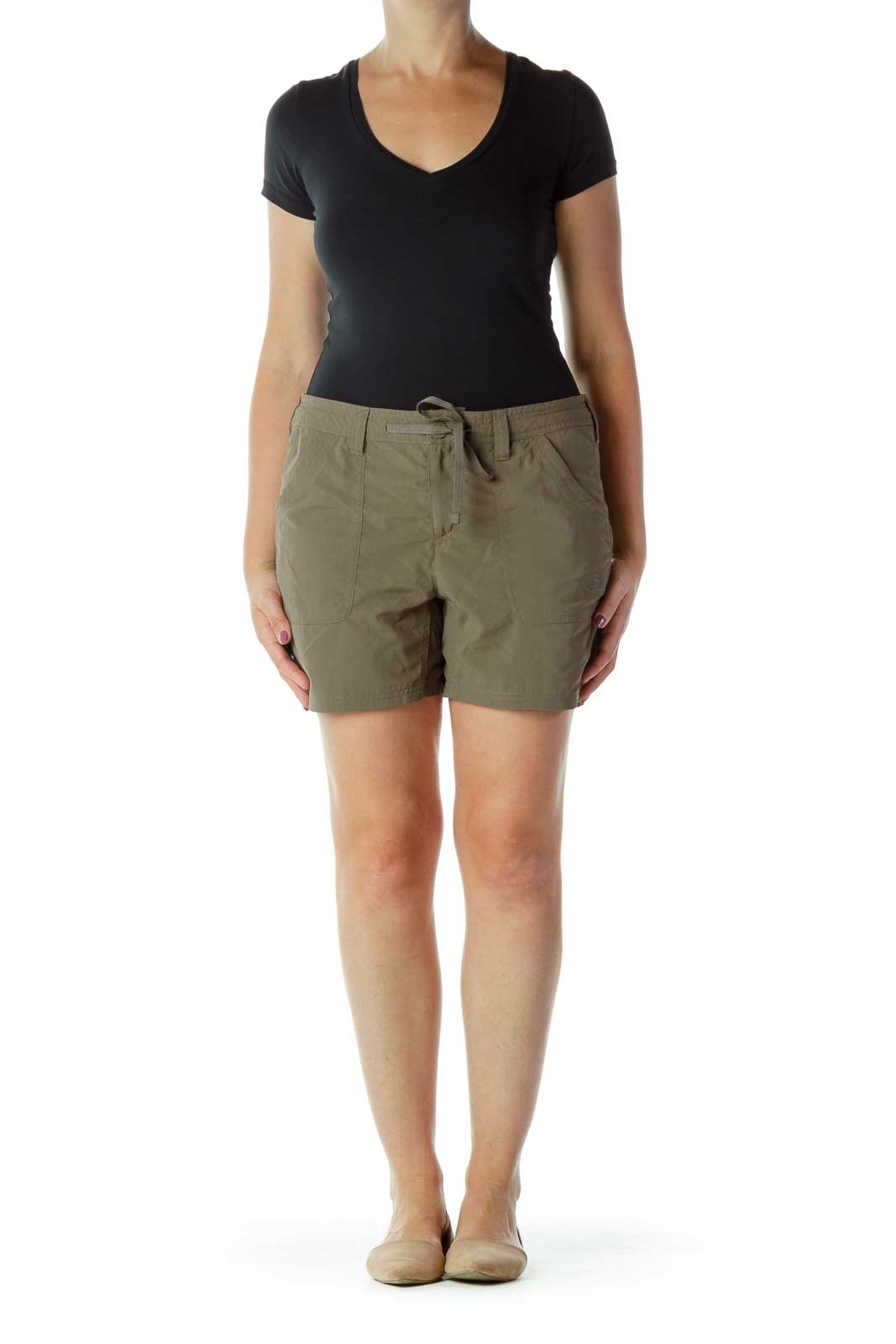 Brown Nylon Drawstring Shorts