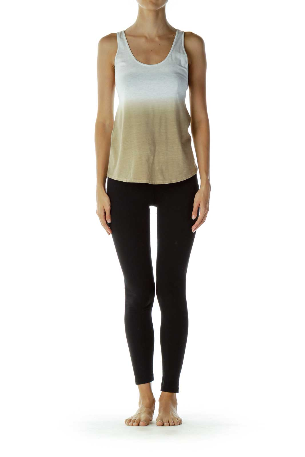 White Brown Ombre Racerback Top