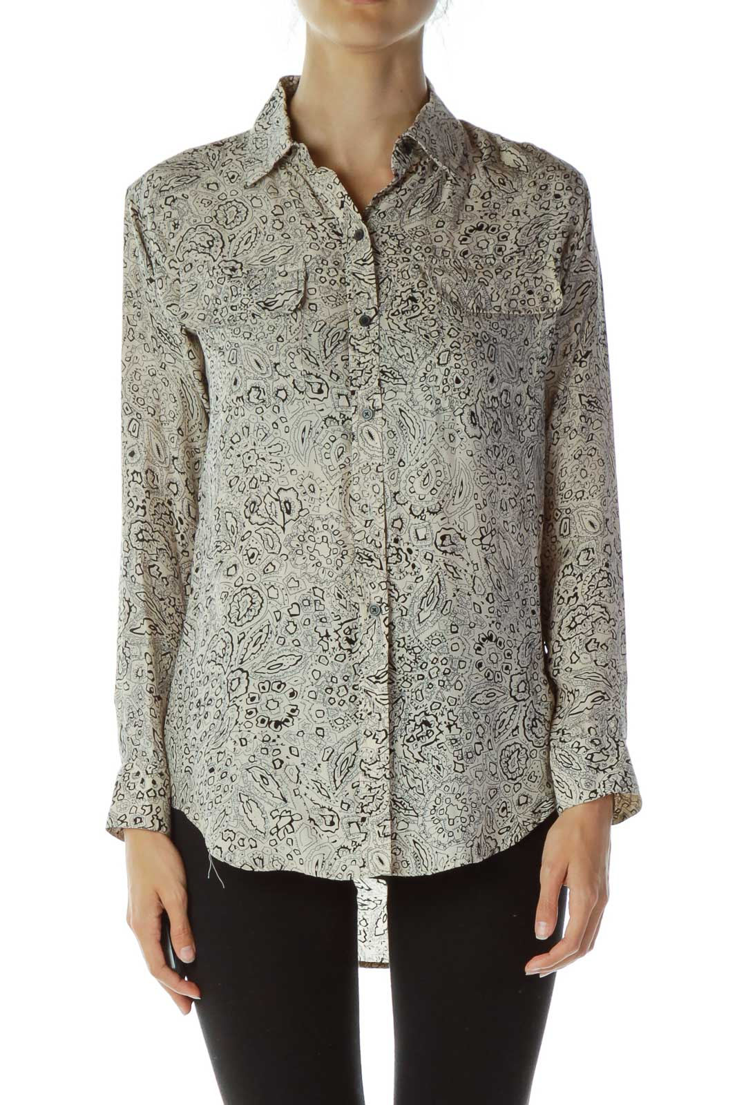 Beige Black Print Blouse