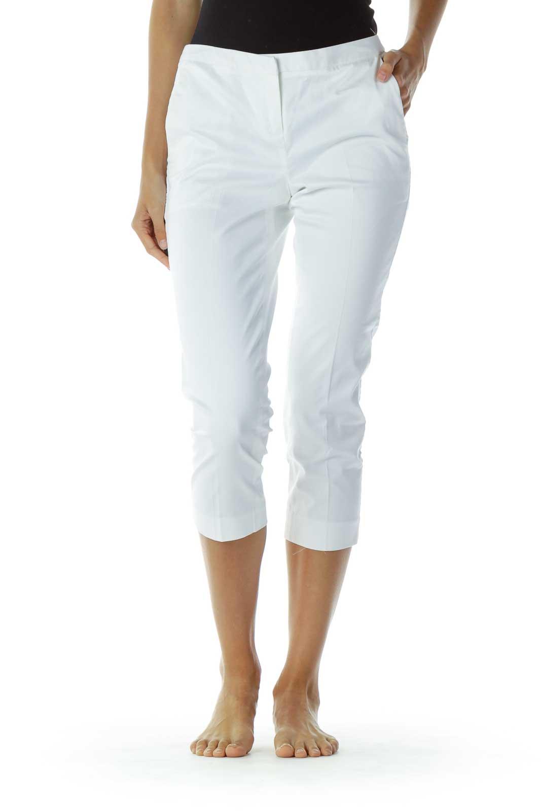 White Cropped Slacks