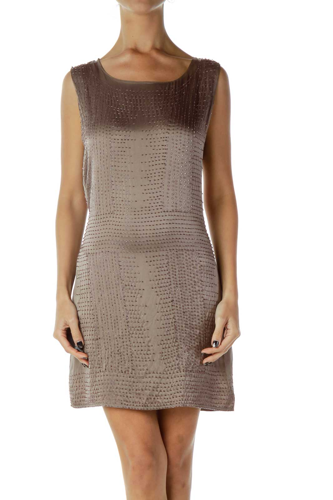 Brown Beaded Silk Shift Dress