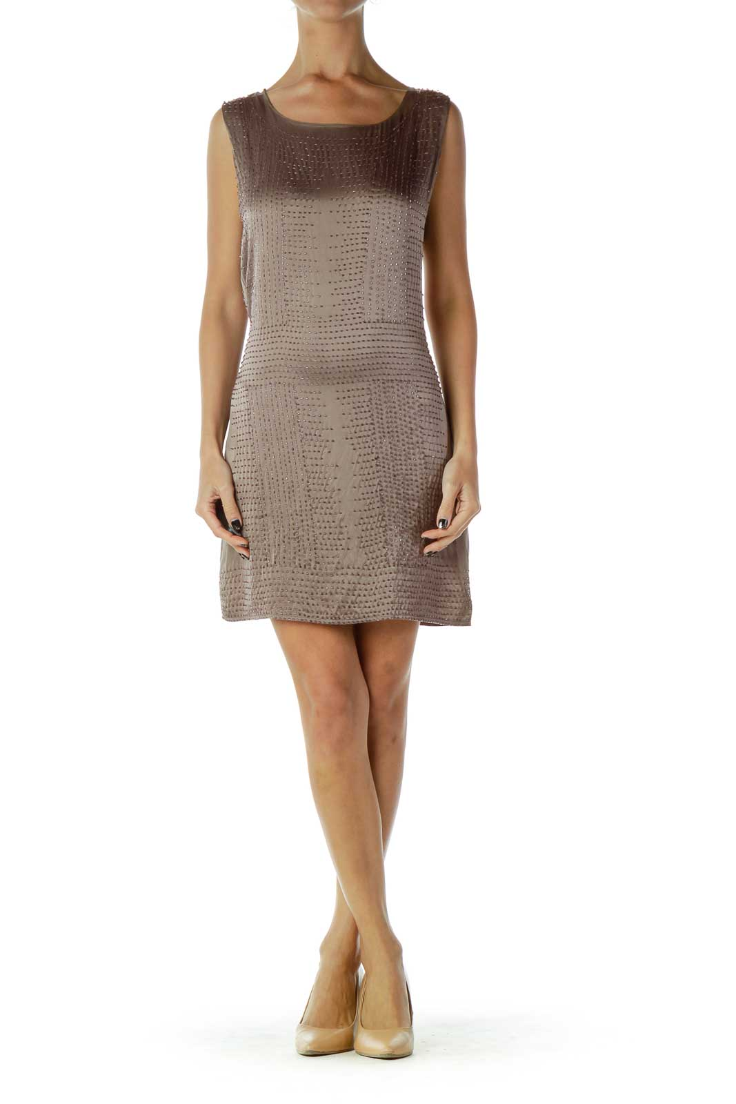 Brown Beaded Silk Shift Dress