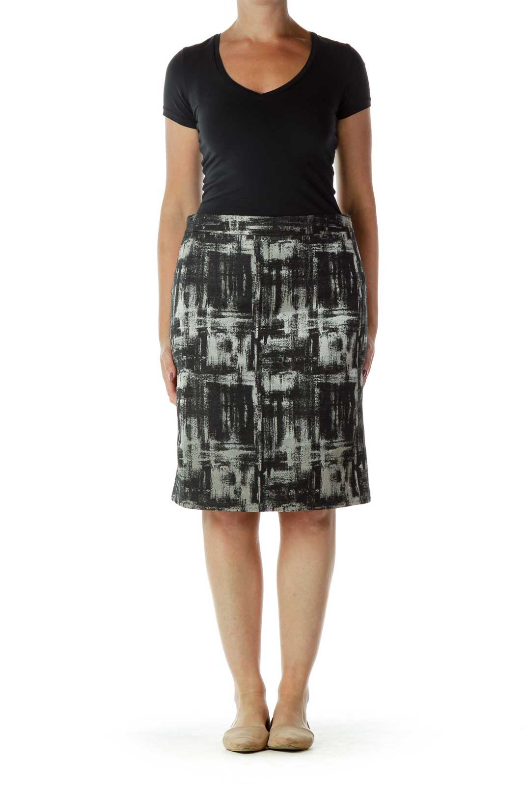 Black Beige Pencil Skirt