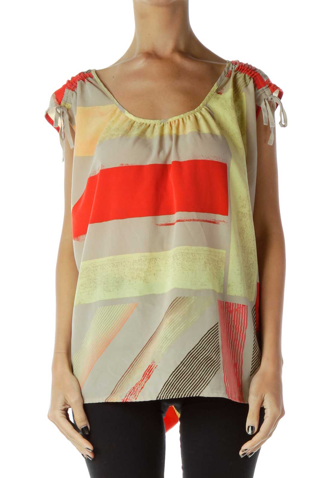 Red Gray Yellow Geometric Tank Top