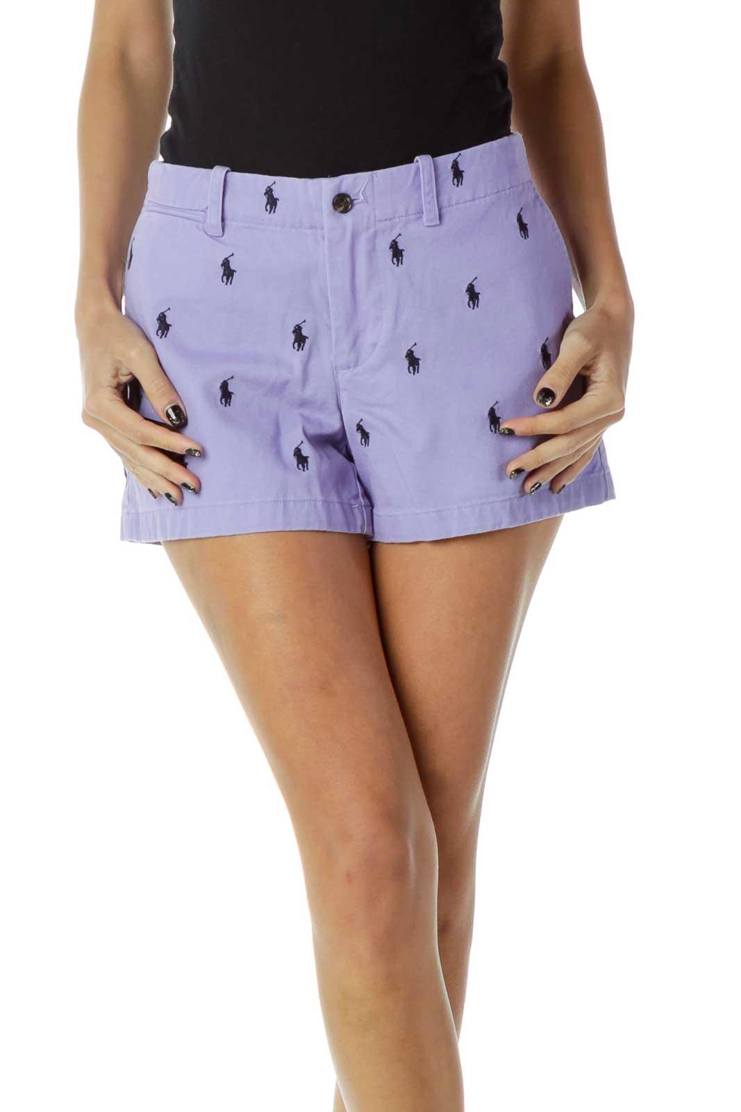 Purple Black Patterned Shorts