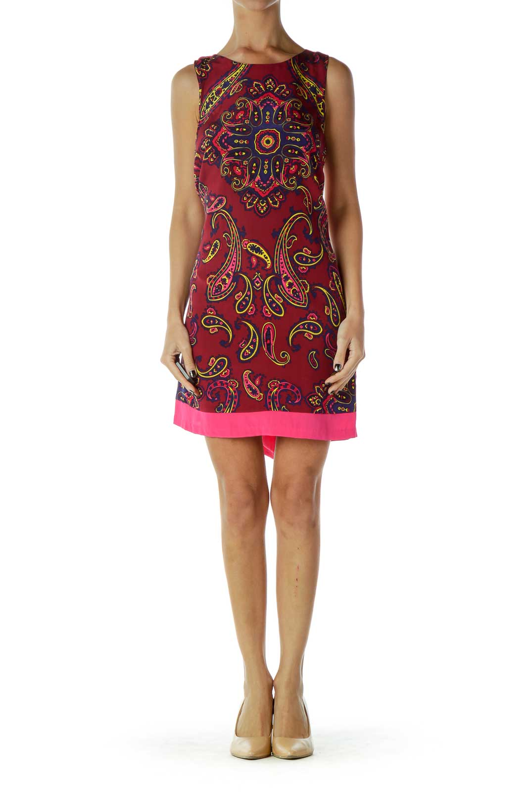 Red Blue Paisley Shift Dress