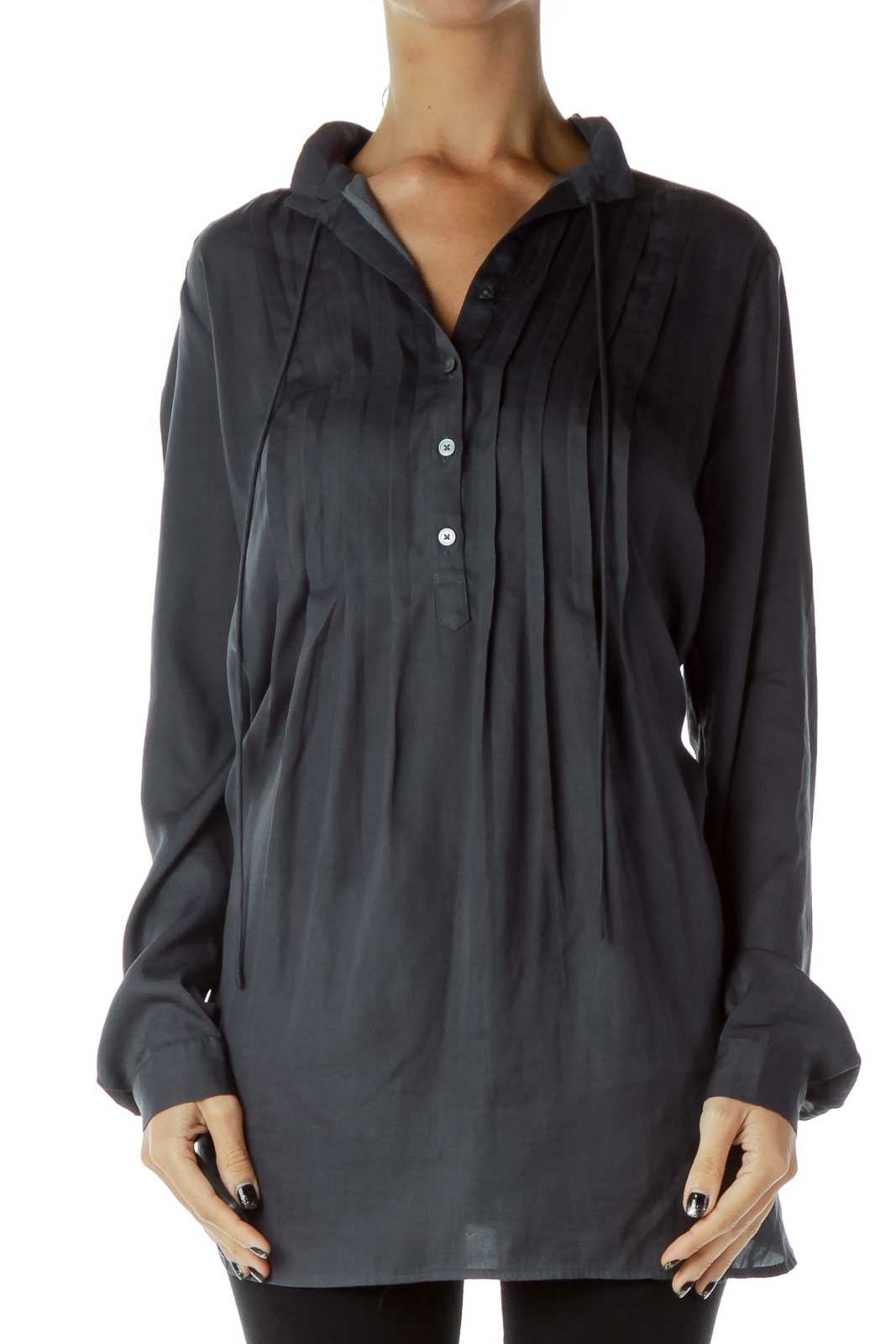 Gray Pleated Blouse