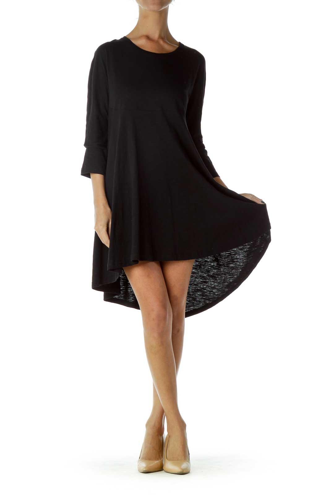 Black Long Sleeve Jersey Knit Dress