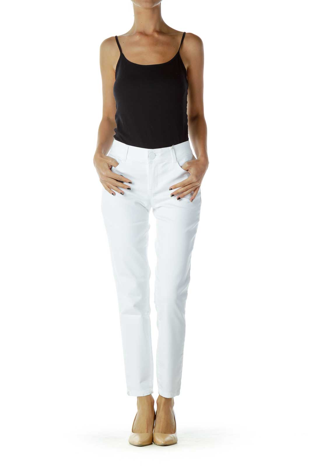 White Straight-Leg Jeans