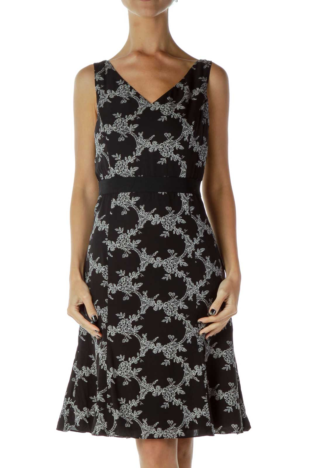 Black White Floral Work Dress