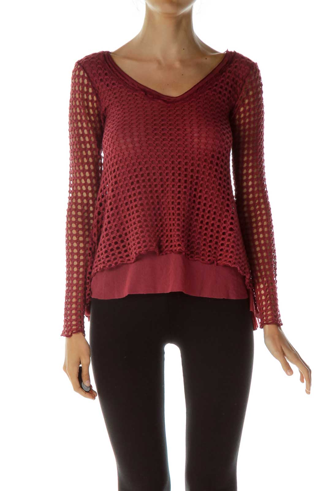 Red Net V-Neck Blouse