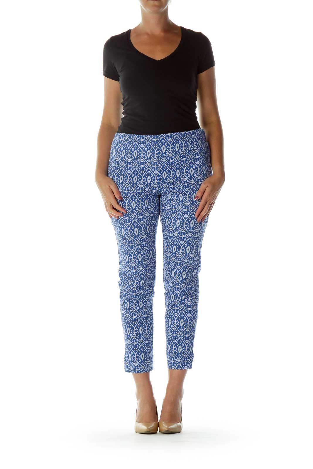 Blue White Print Cropped Pants