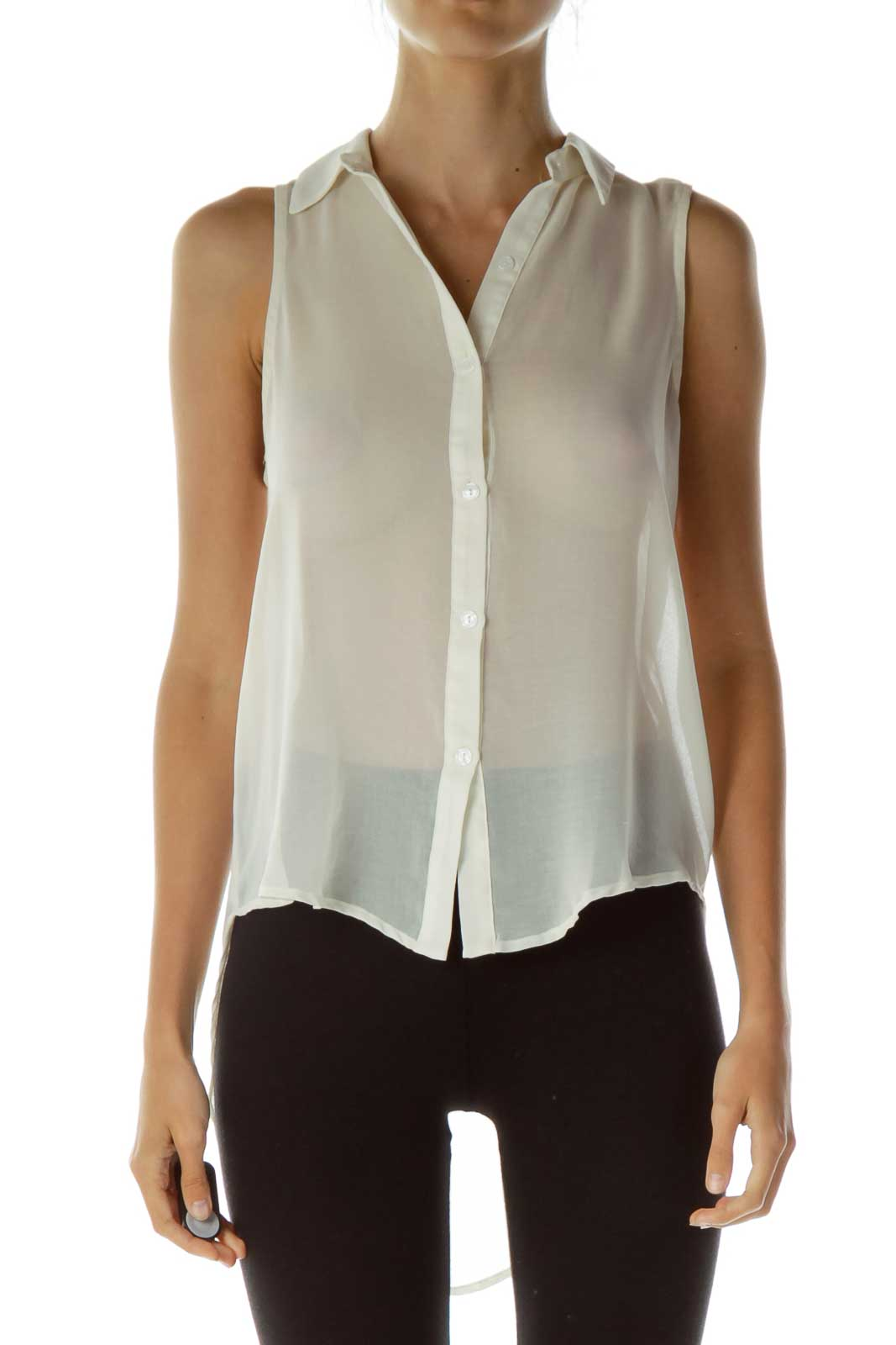 Beige Sheer Sleeveless Top