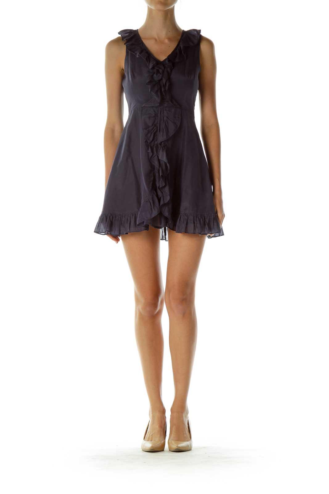 Purple Ruffled Sleeveless Cocktail Dress