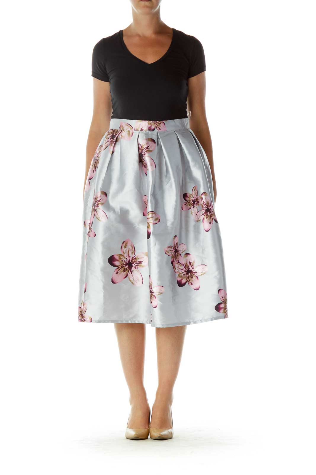 Silver Pink Purple Flower Pleated Pouf Skirt