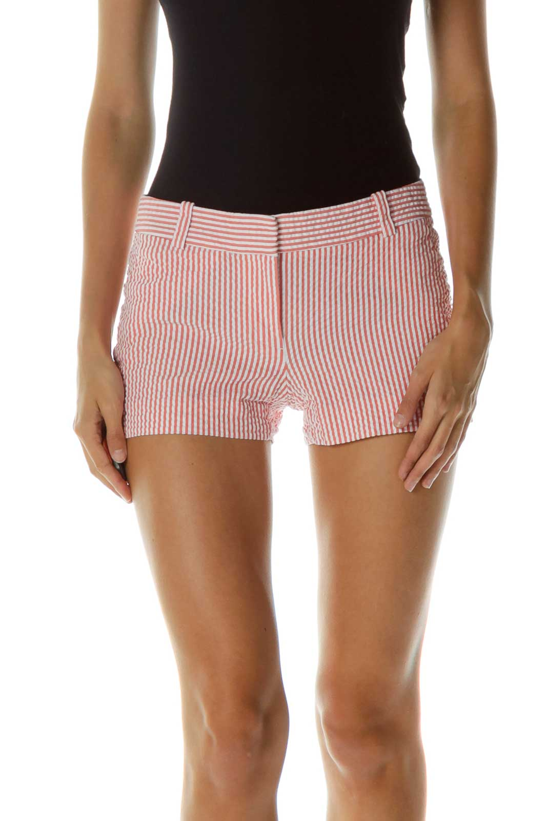 Pink White Striped Shorts