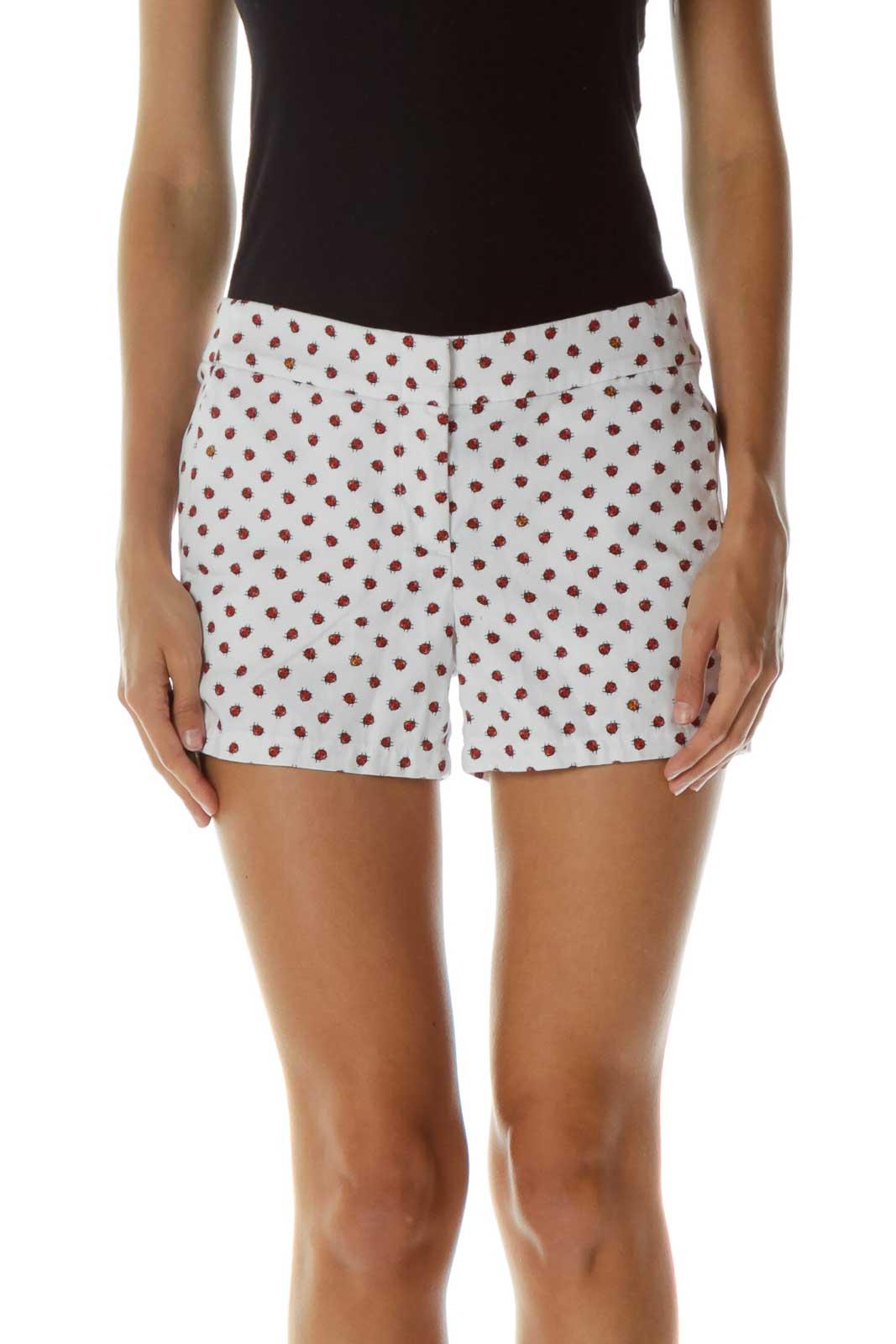 White Ladybug Print Shorts