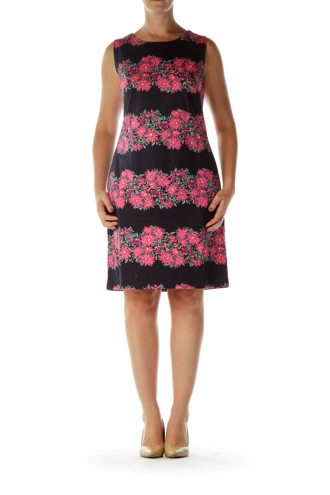 Navy Pink Flower Print Shift Dress