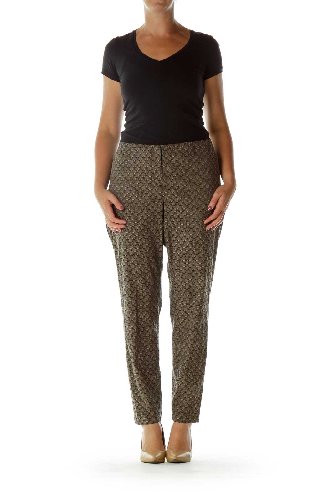 Black Beige Print Slacks