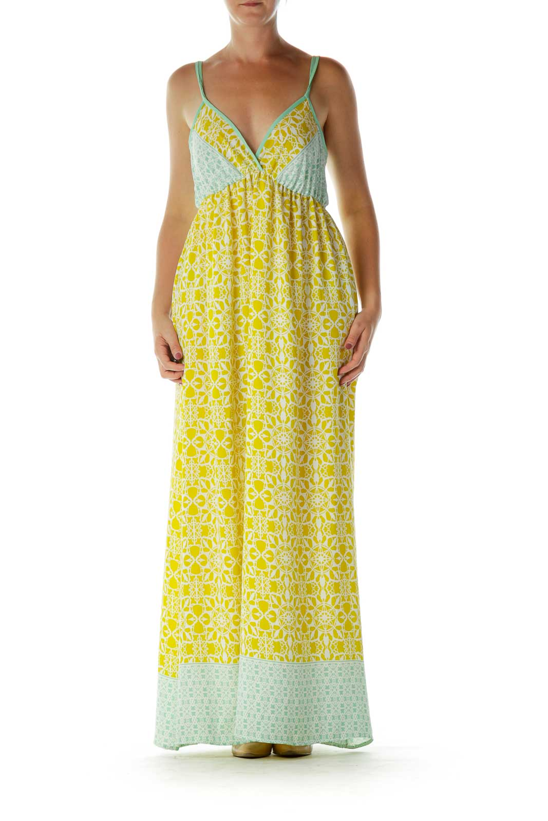 Yellow Green Print Maxi Dress