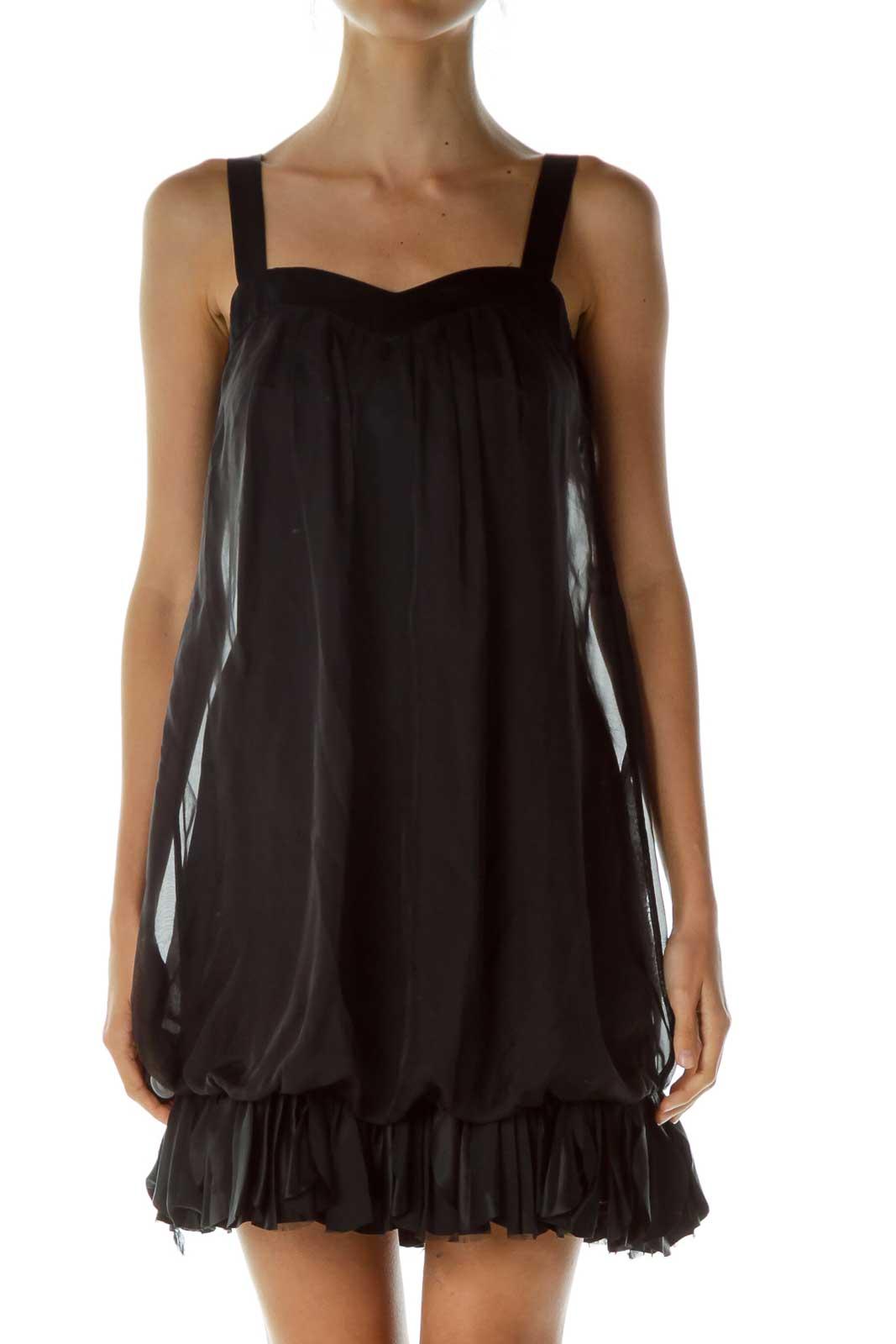 Black Ruffled Sweetheart Neckline Cocktail Dress