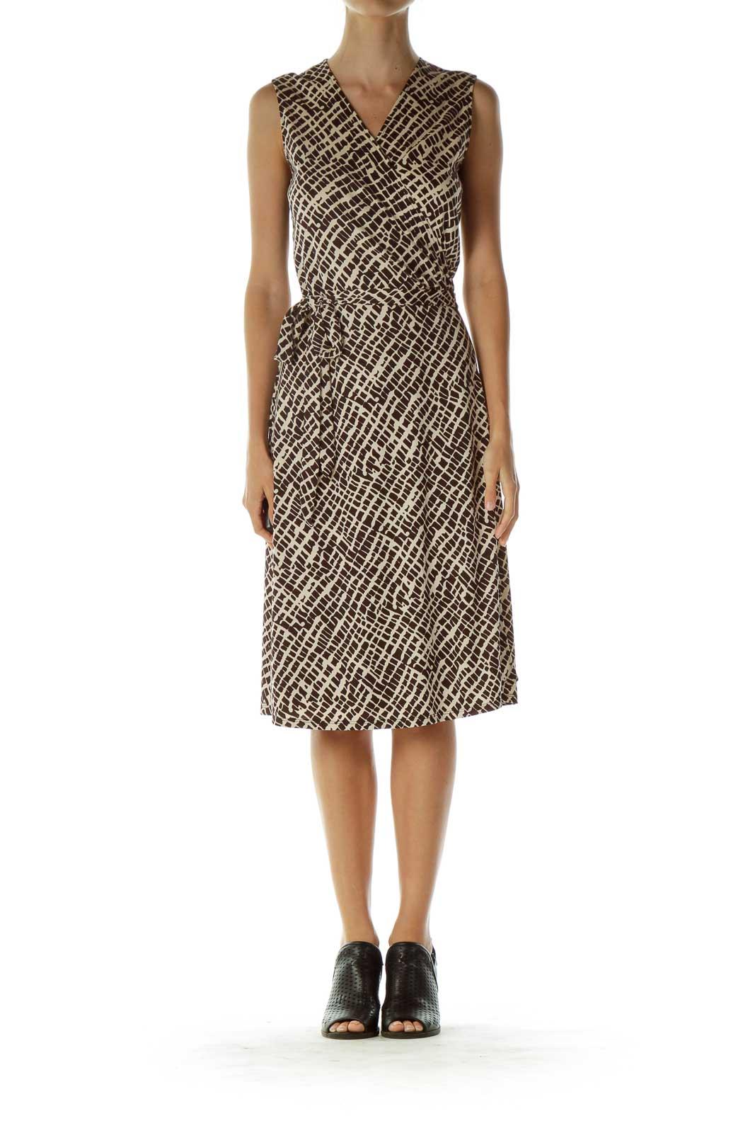 Brown and Beige Printed Wrap Dress