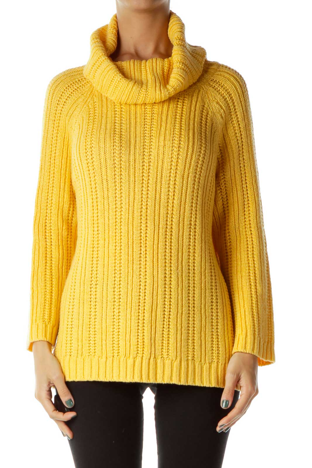 Yellow Knit Turtle Neck Sweater
