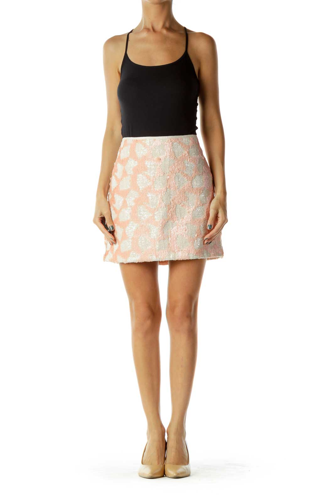 Beige/Light Pink Sequined Mini Skirt