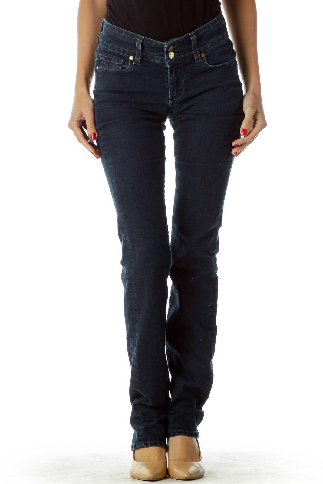 Dark Blue Straight-Legged Jeans
