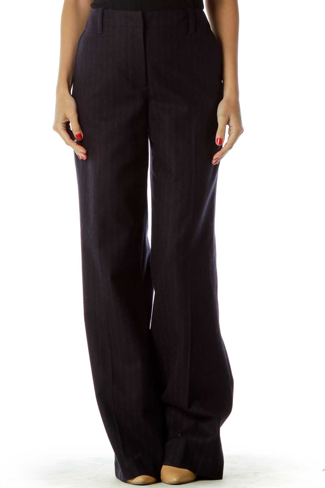 Navy Red Pinstripe Straight Leg Pants