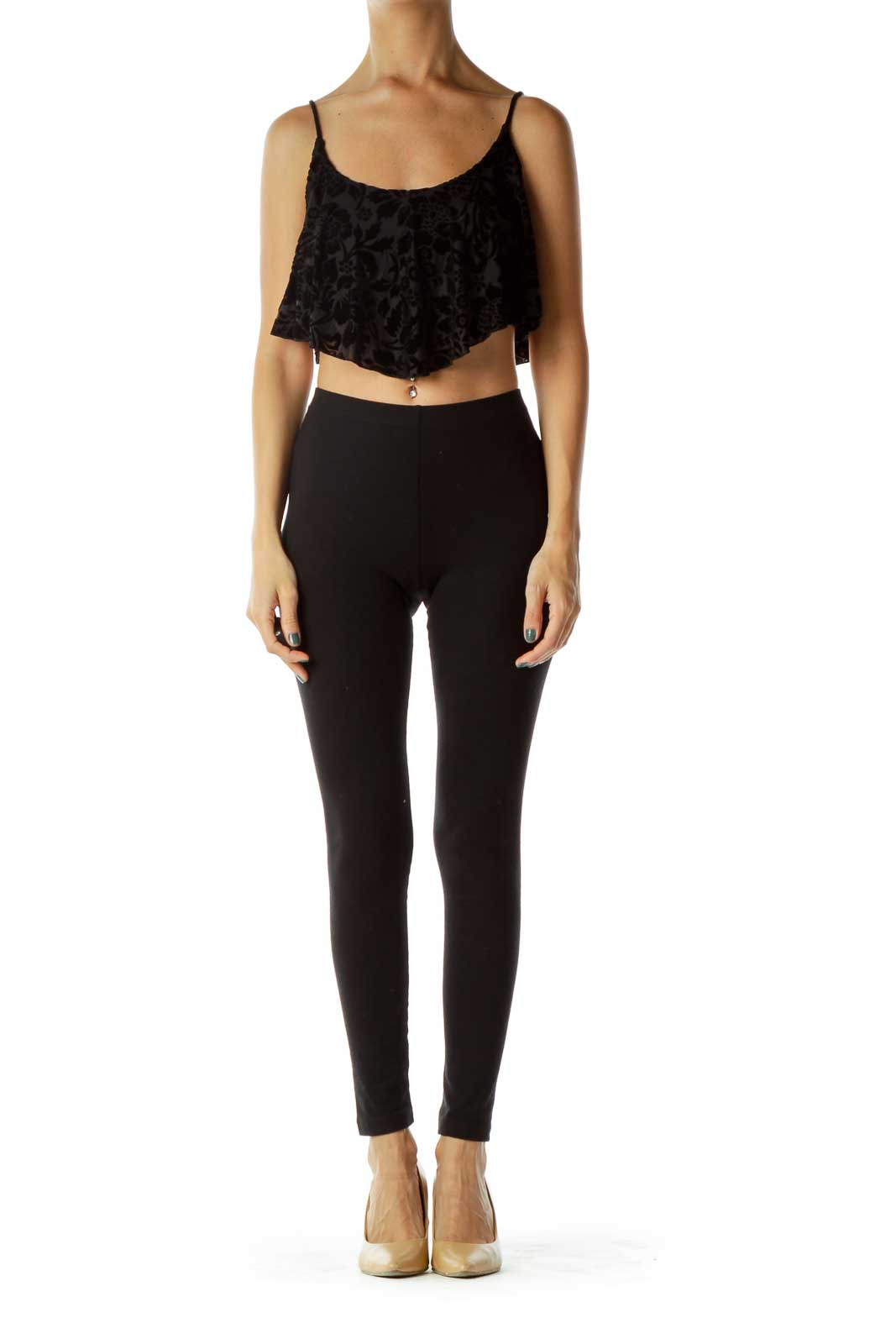 Black Velvet Floral Crop Top