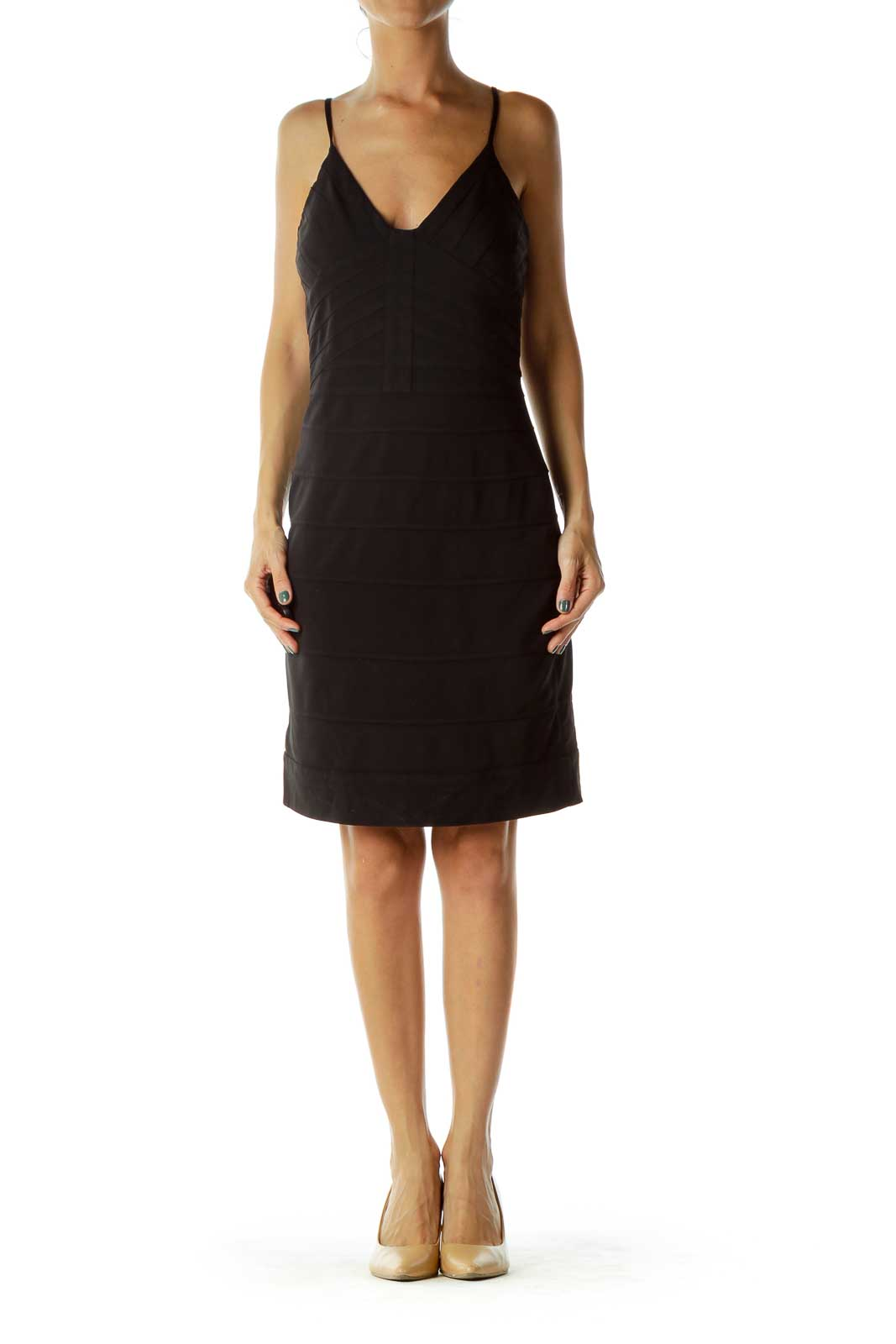 Black Stitched Bodycon Cocktail Dress