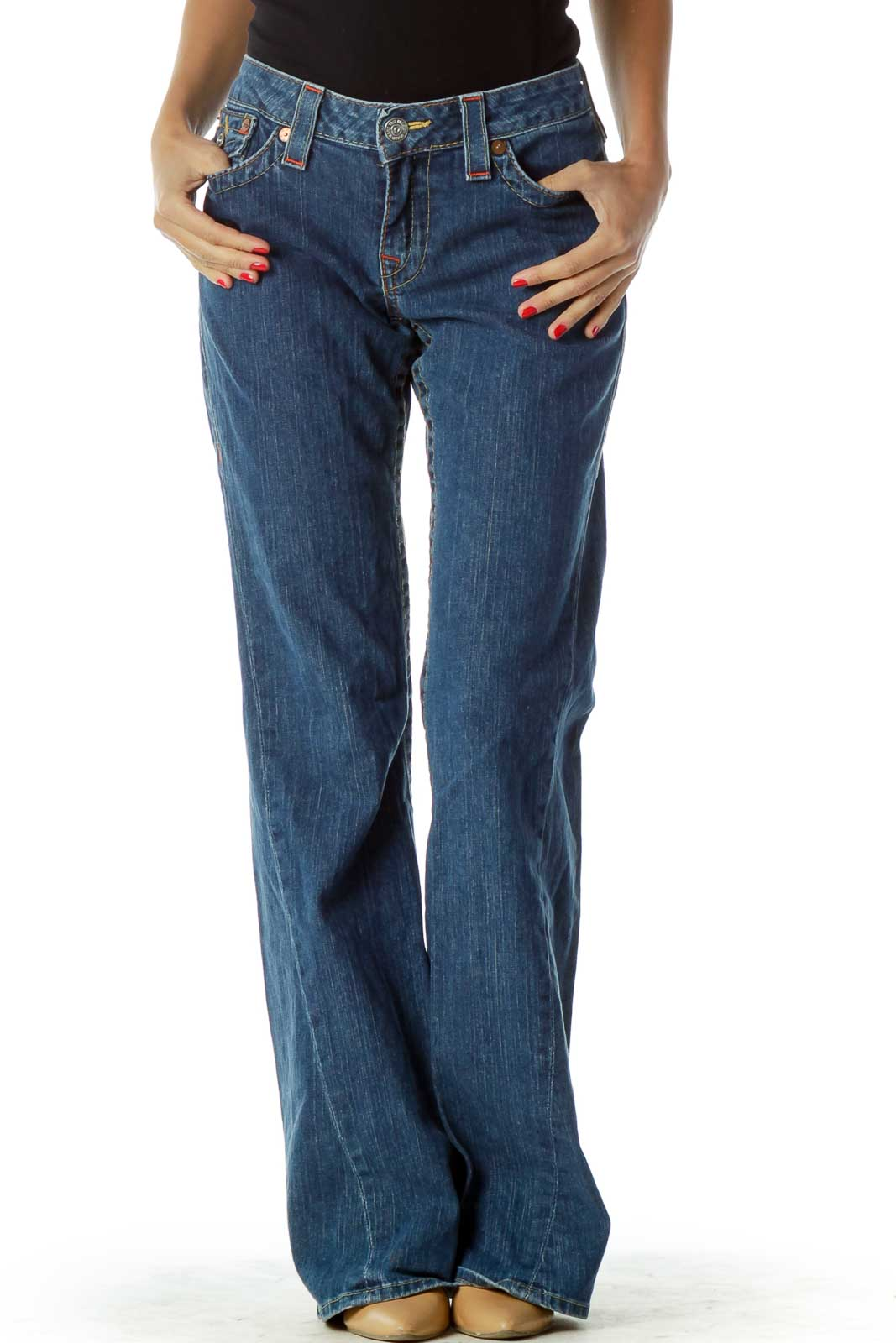 Navy Flared Stitched Jeans