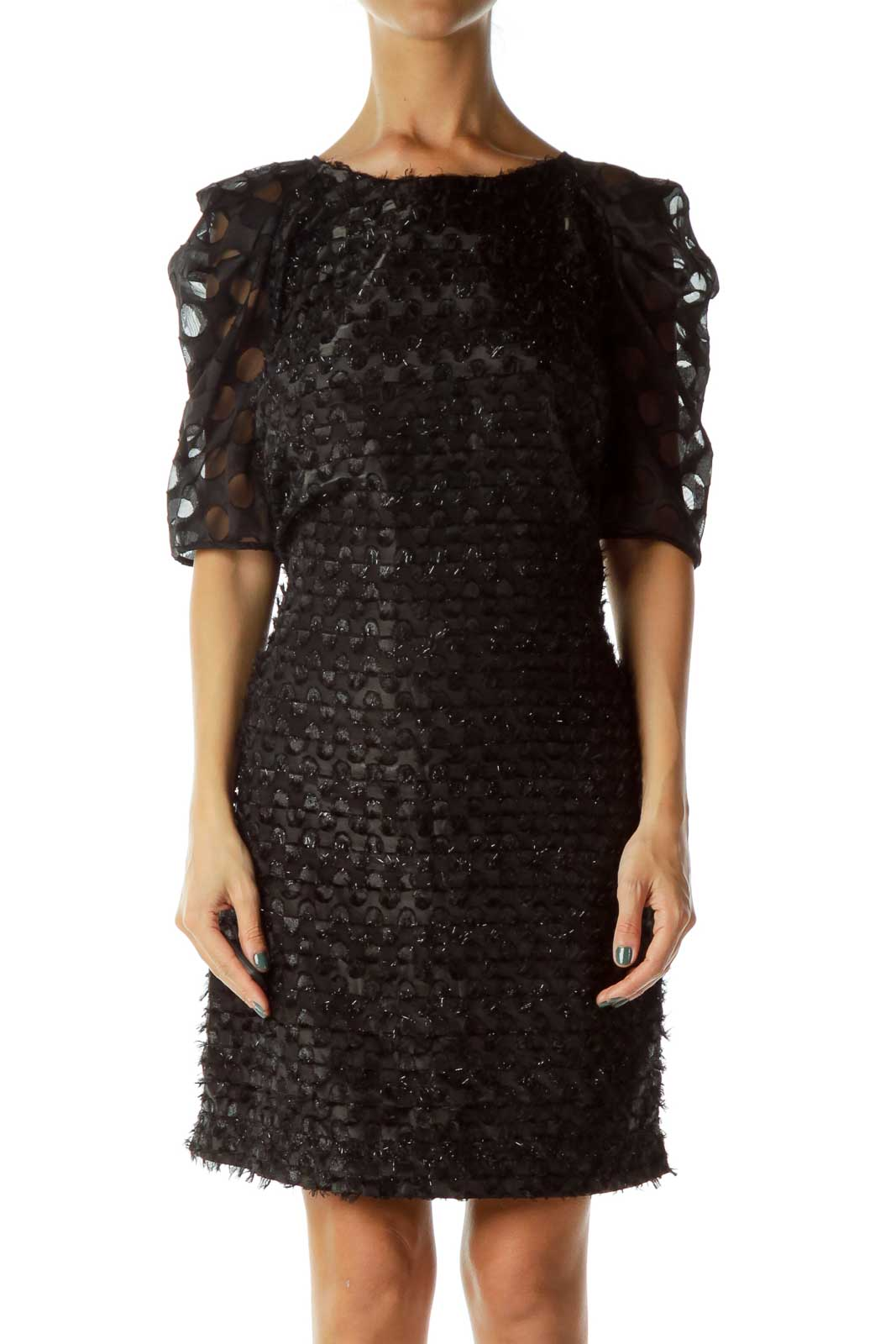 Black Sparkly Short Sleeve Dress