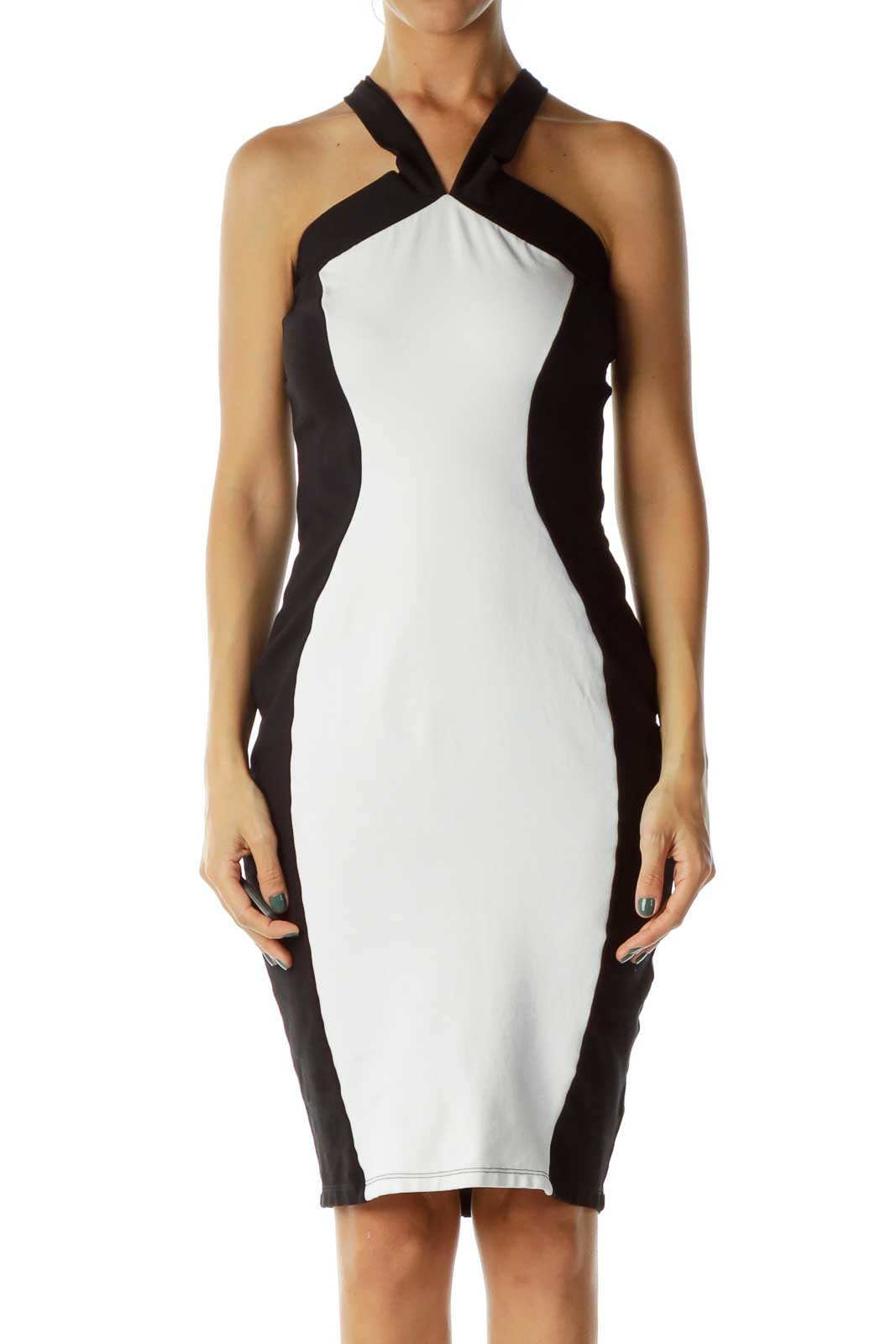 Black/White Criss-Cross Bodycon Dress
