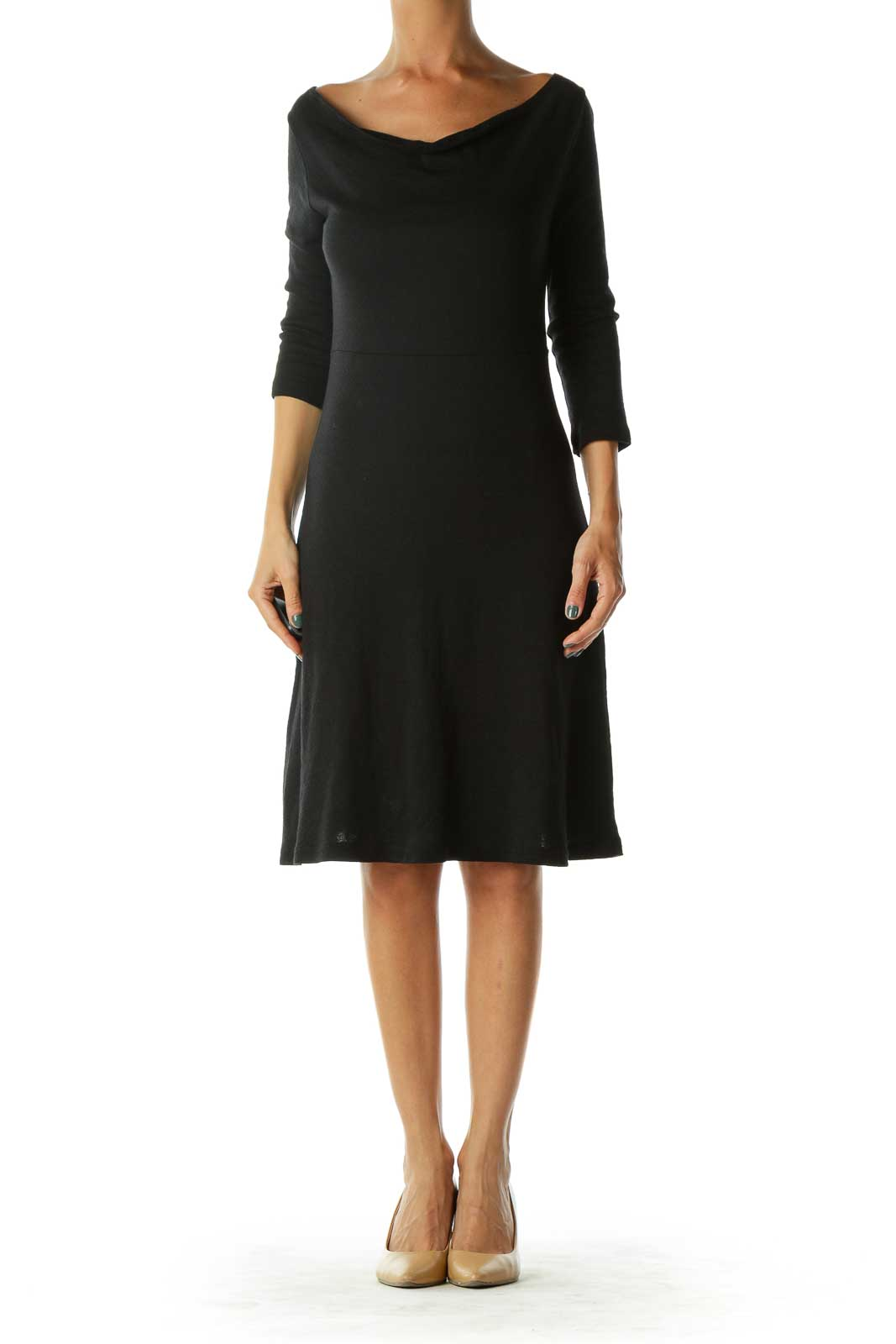 Black Stretchy Cotton Jersey Dress