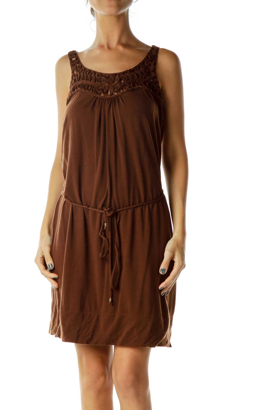 Brown Crocheted Jersey Dress