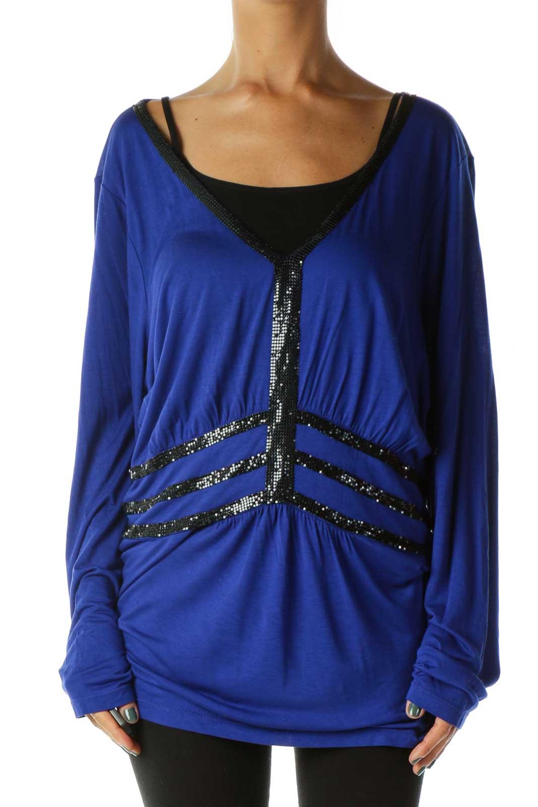 Blue Black Beaded Blouses