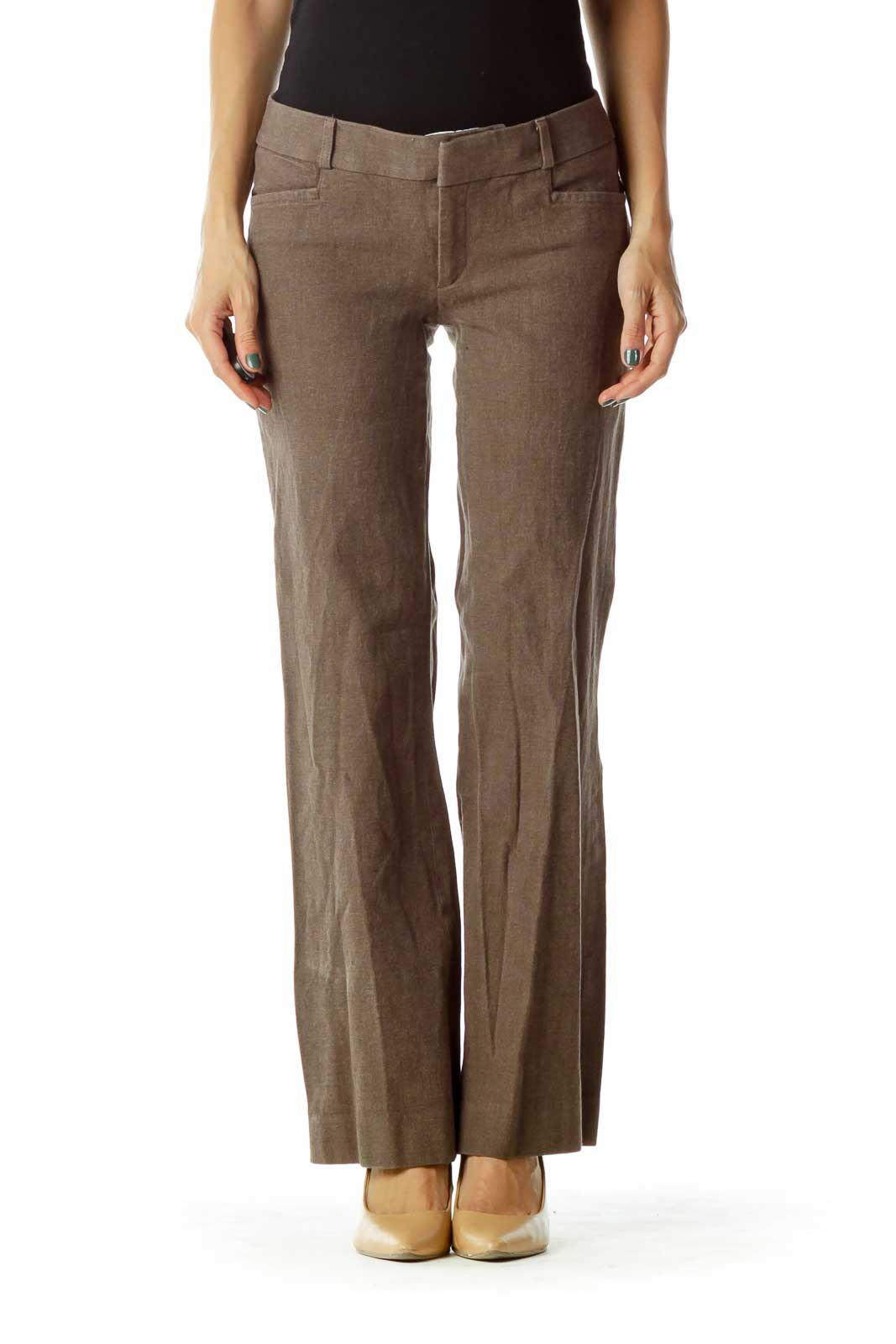 Brown Wide-Leg Slacks