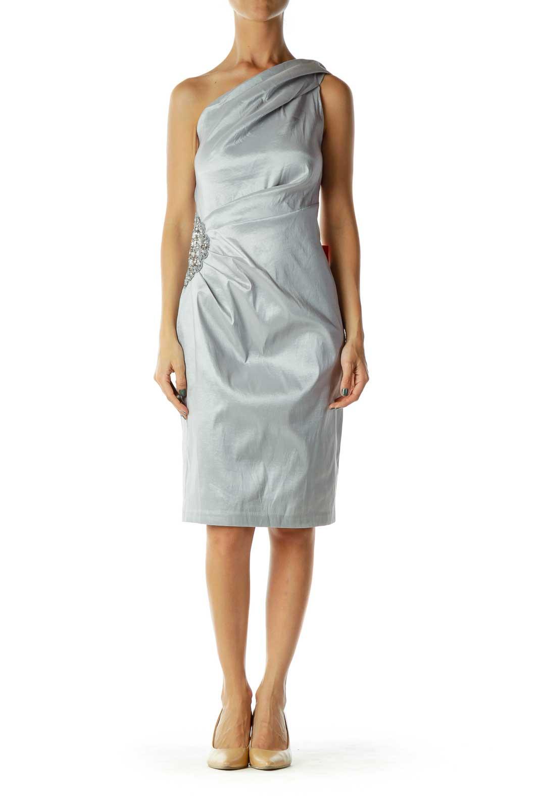 Gray Beaded Metallic Evening Dress