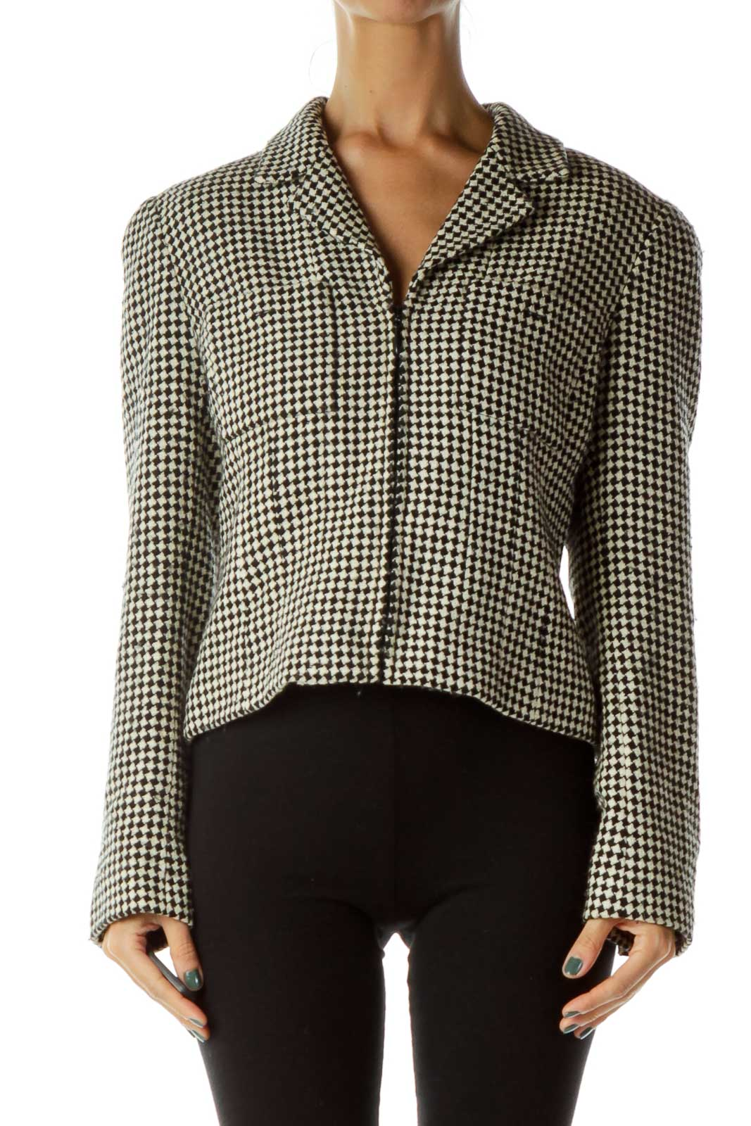 Black Beige Tweed Blazer