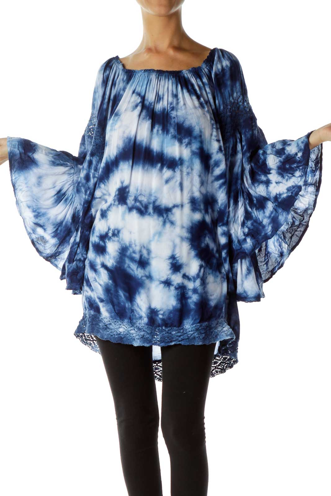 Blue Tie-Dye Off-Shoulder Top