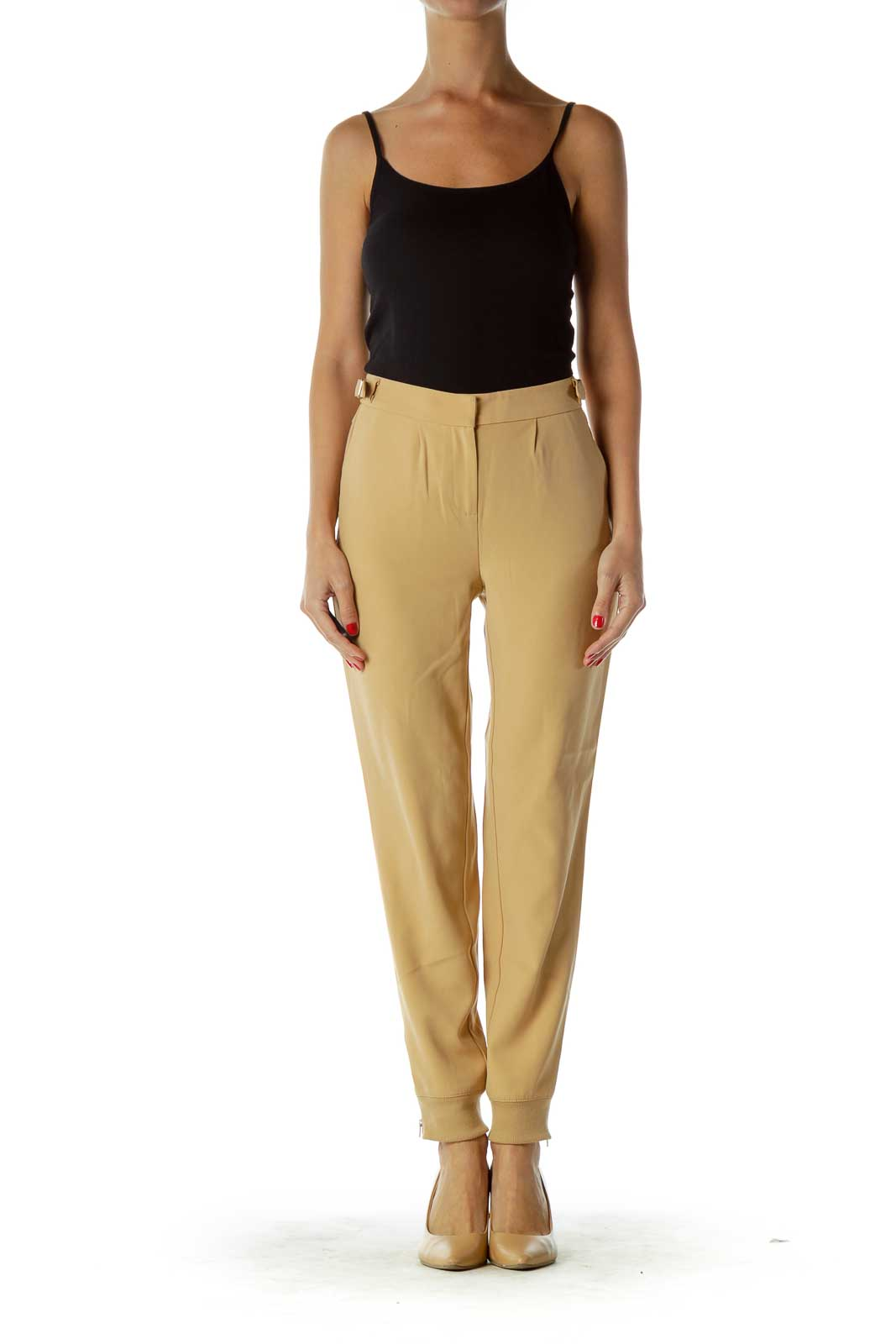 Beige Tapered Belted Pants