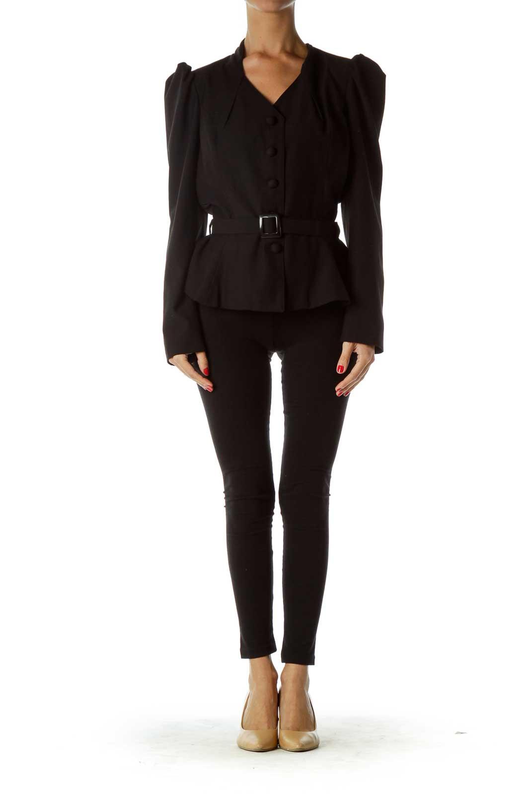 Black Puff Shoulder Belted Blazer