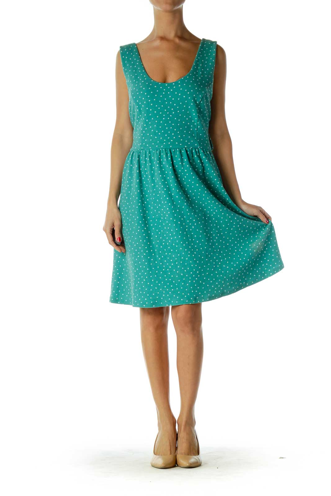 Green White Polka-Dot Day Dress