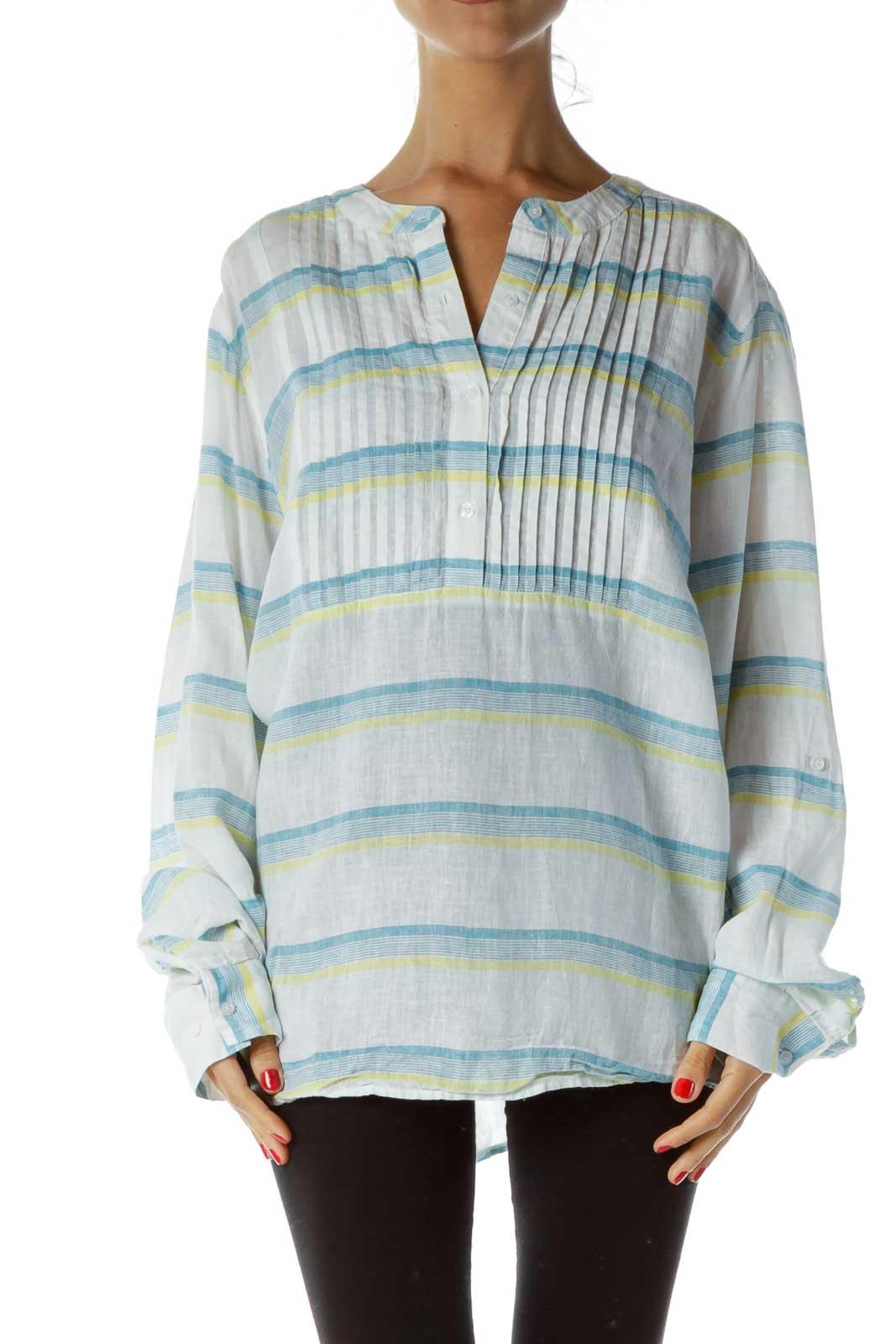 White Blue Striped Linen Shirt