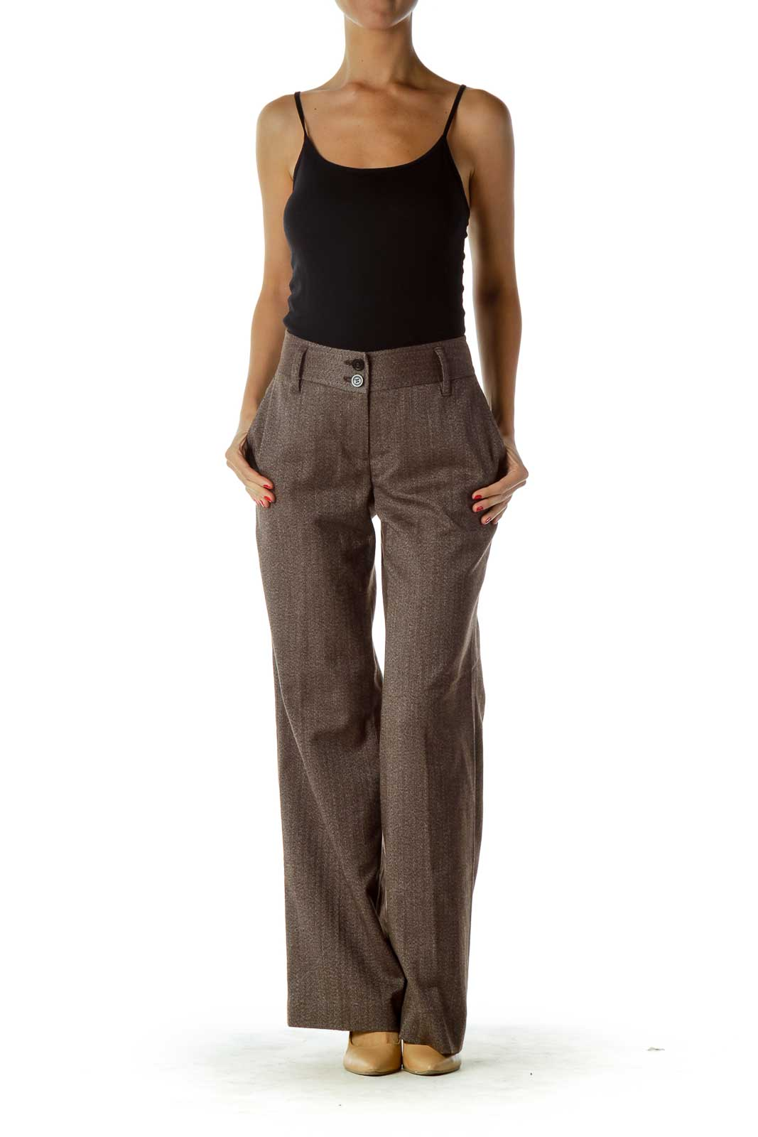 Brown Weave Detail Pants