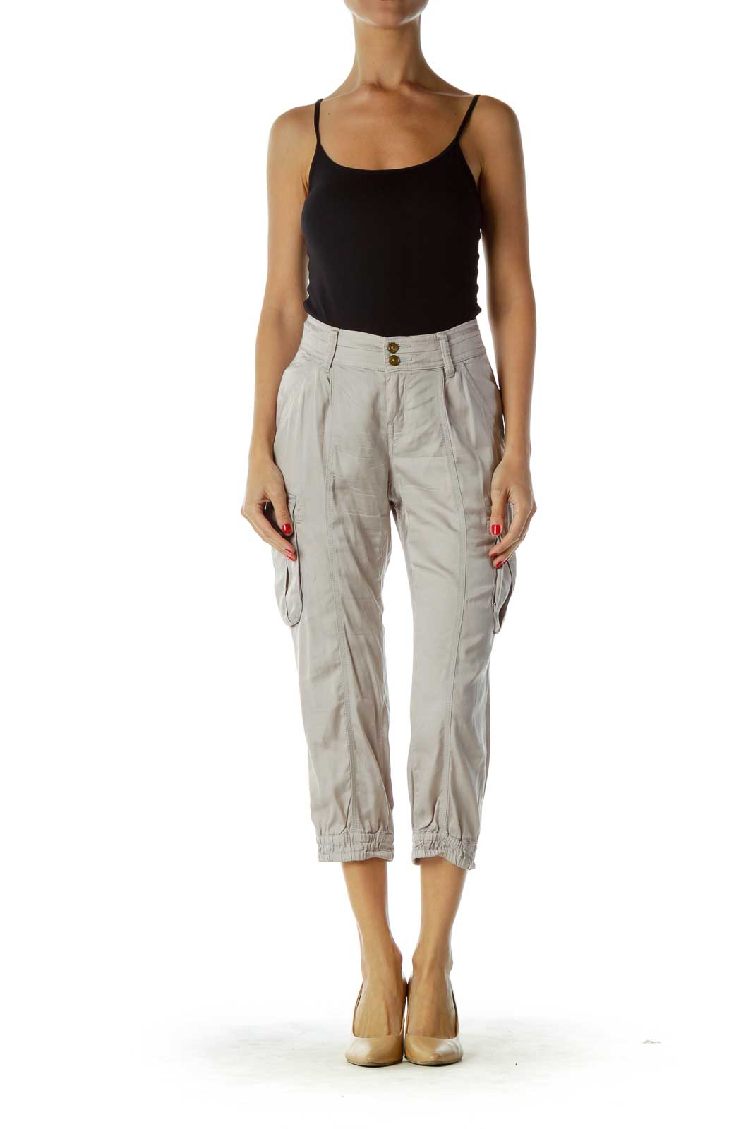 Gray Cargo Cropped Pants