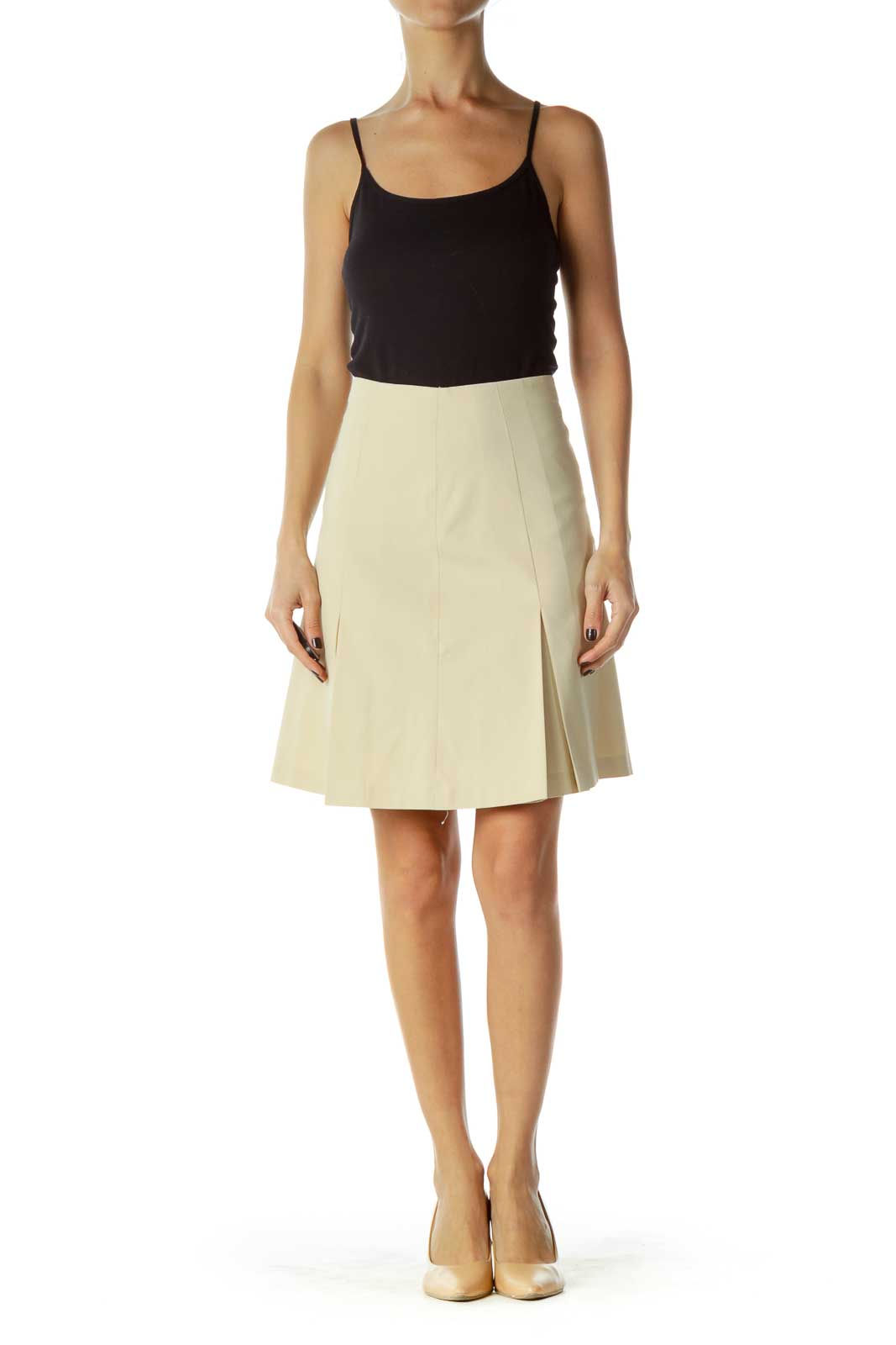 Beige Pleated A-Line Skirt